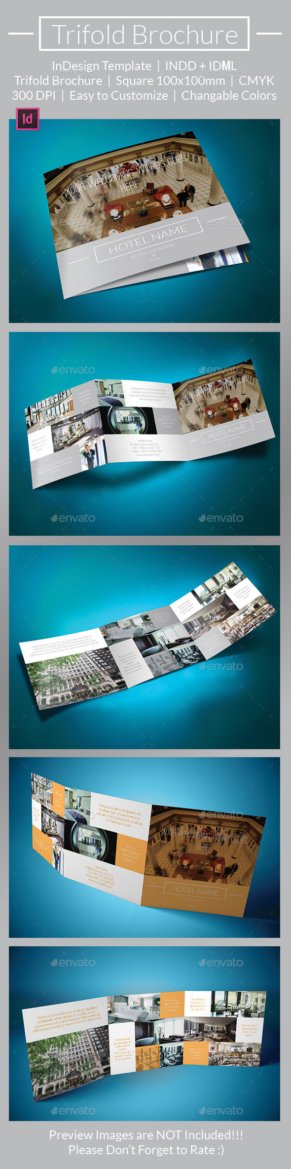 Hotel Metro Trifold Brochure - Brochures Print Templates