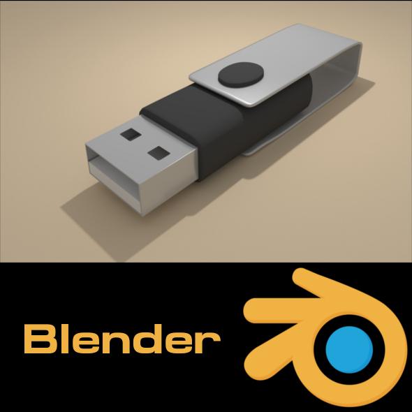 Swivel Flashdisk - Black - 3DOcean Item for Sale