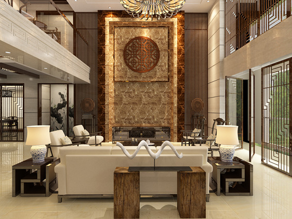 Living room with Modern Chinese style - 3DOcean Item for Sale
