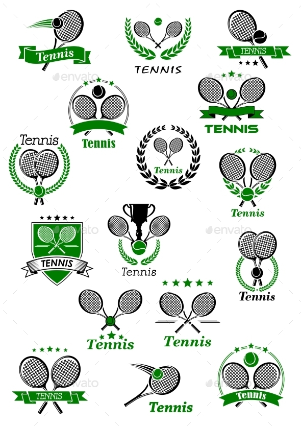 Tennis Emblems With Balls, Rackets And Trophy - Sports/Activity Conceptual