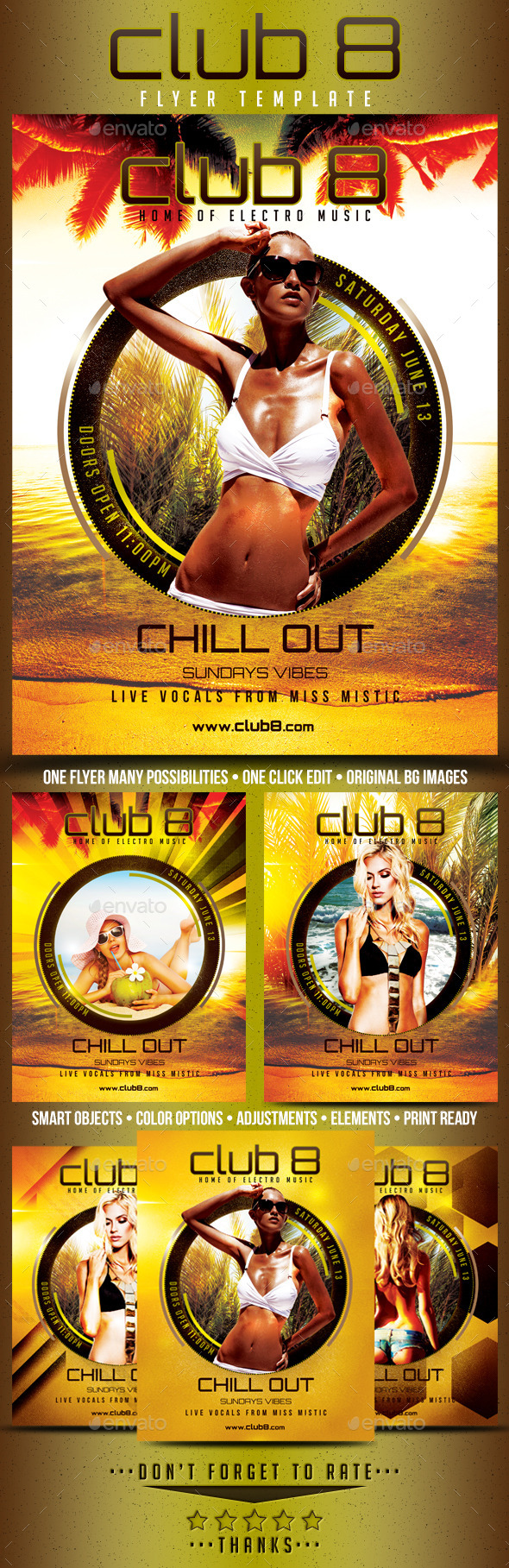 Club 8 Chill Out Flyer Template - Clubs & Parties Events
