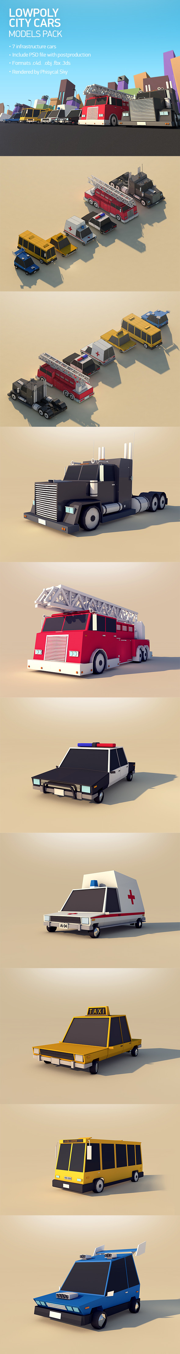 Low Poly City Cars Pack 1 - 3DOcean Item for Sale