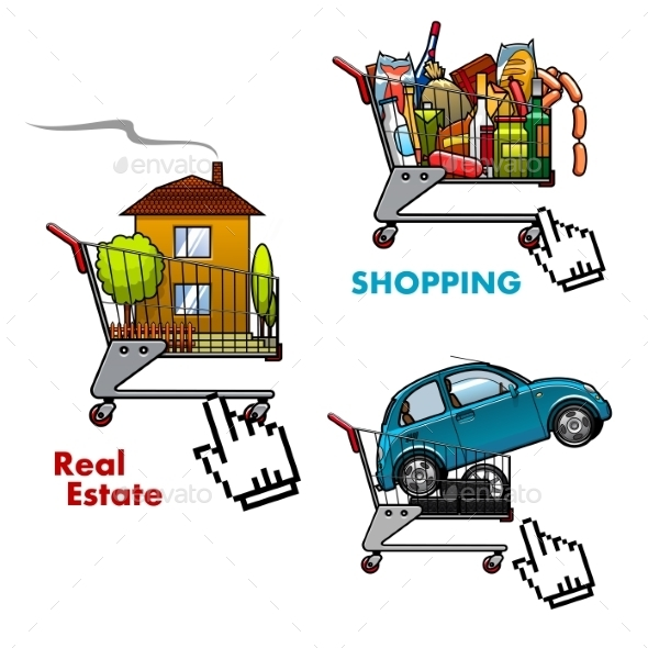 Shopping Carts With Food, Car And Real Estate - Retail Commercial / Shopping
