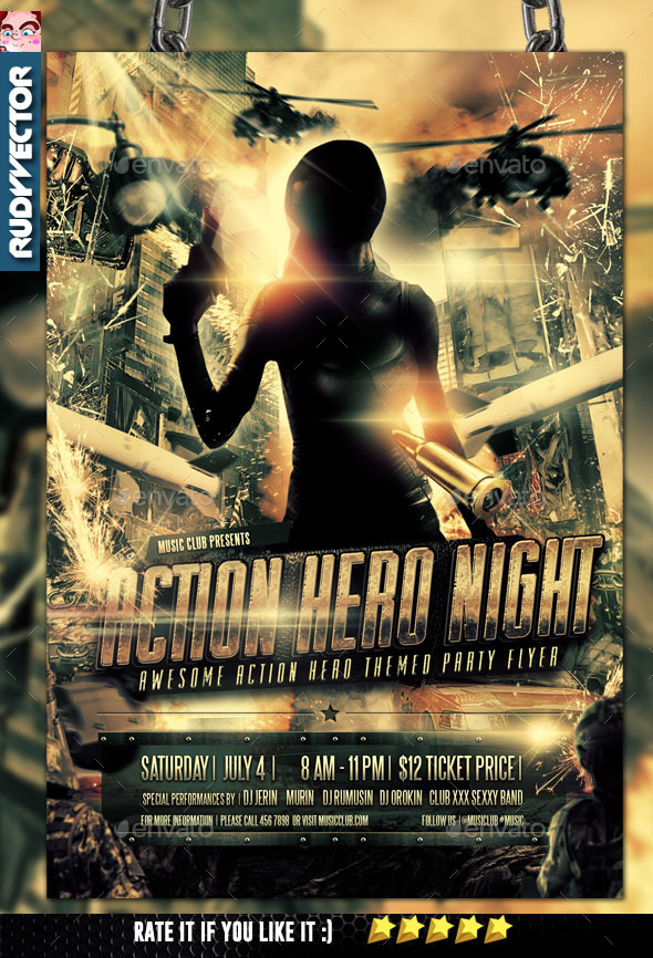 Action Hero Dystopia Themed Flyer - Events Flyers
