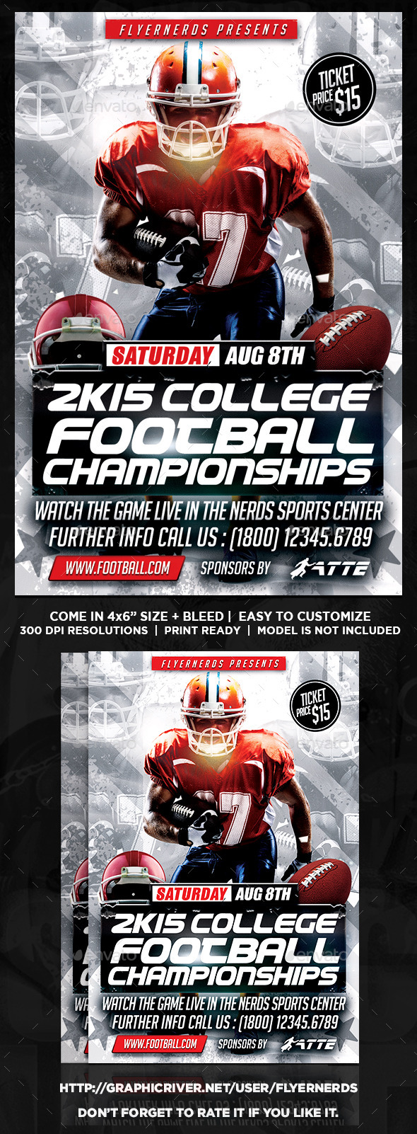 2K15 College Football Championships Sports Flyer  - Sports Events