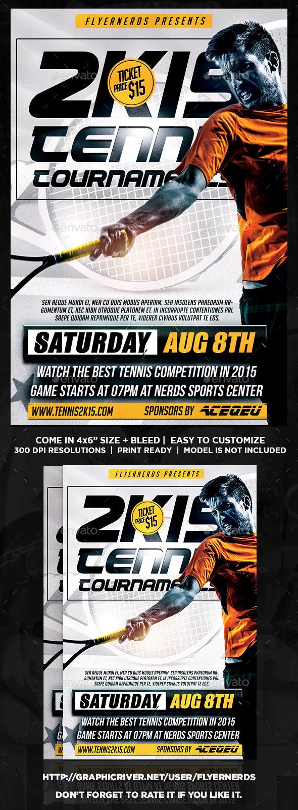2K15 Tennis Tournament Sports Flyer - Sports Events