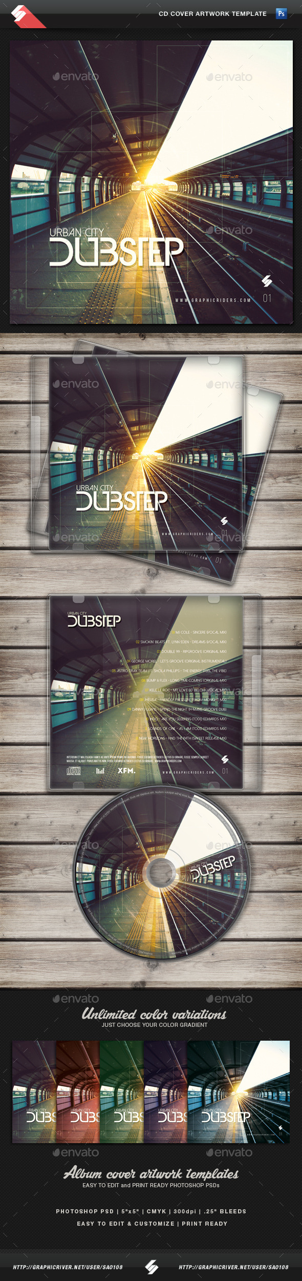 Urban City Dubstep - CD Cover Template - CD & DVD Artwork Print Templates