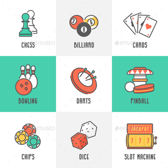9 Casino and Leisure Games Icons - Sports/Activity Conceptual