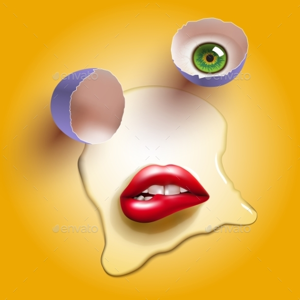 Cracked Egg with Lips - Food Objects