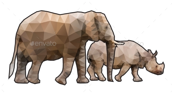 Polygonal Elephant and Rhino - Animals Characters