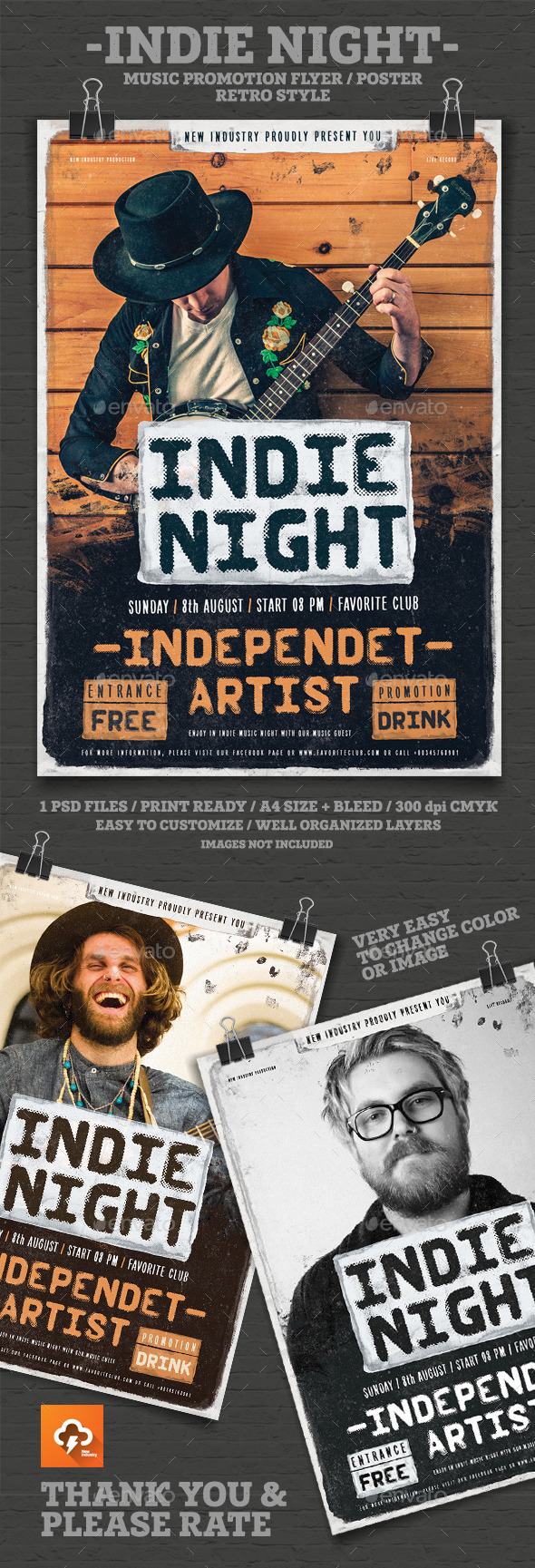 Indie Night Poster/Flayer - Events Flyers