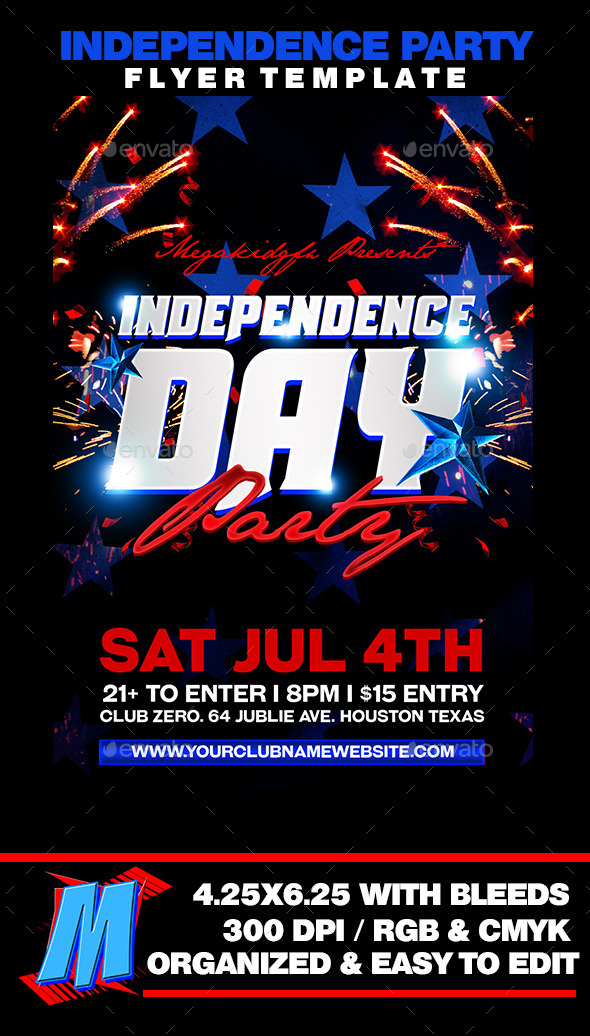 Independence Party Flyer Template - Clubs & Parties Events