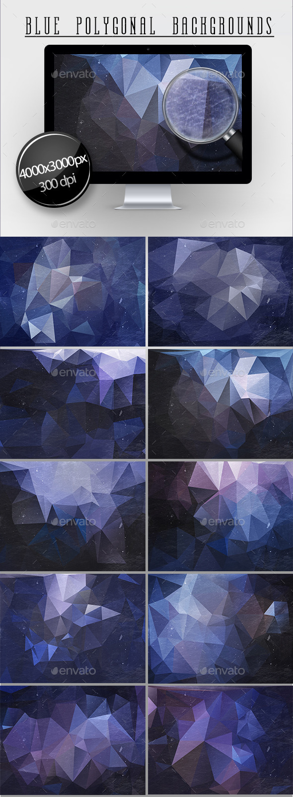 10 Blue Polygonal Backgrounds - Abstract Backgrounds