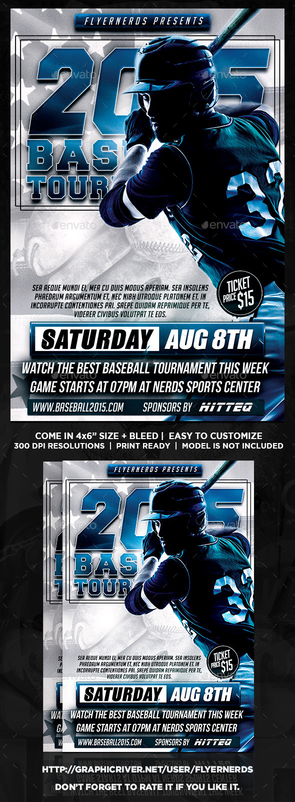 2015 Baseball Tournament Sports Flyer - Sports Events