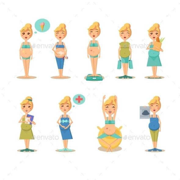 Pregnancy Cartoon Drawings - People Characters