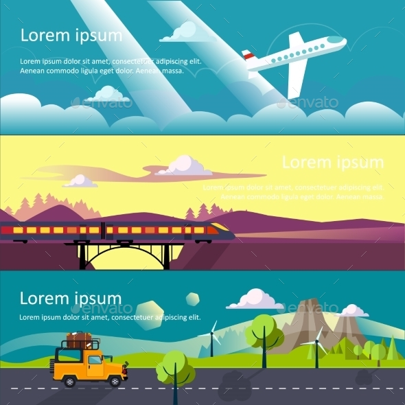 Colourful Travel Flat Banner  - Travel Conceptual