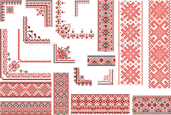 Red and Black Patterns for Embroidery Stitch  - Patterns Decorative