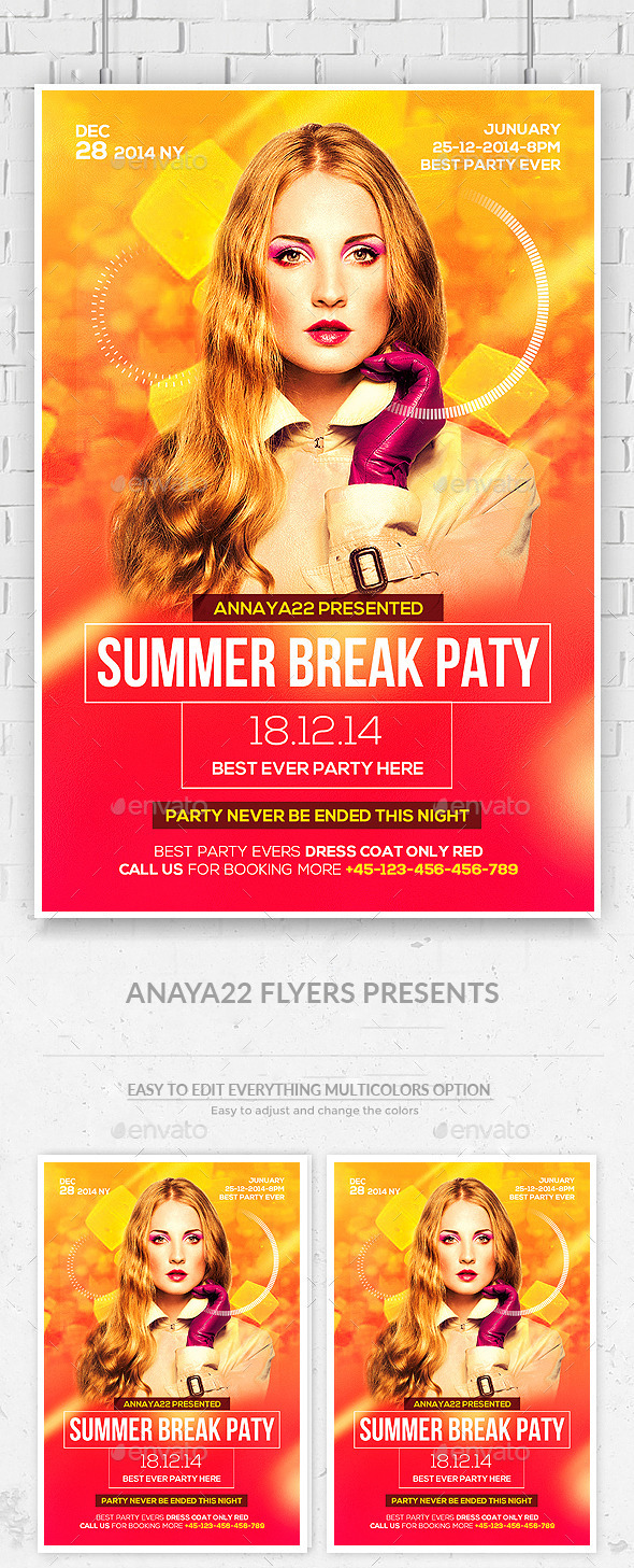 Summer Break Flyer Template - Clubs & Parties Events