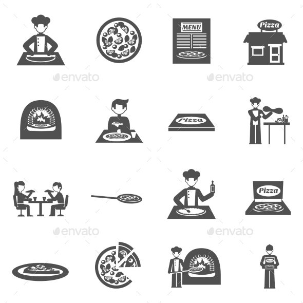Pizzeria And Pizza Delivery Icons Set - Food Objects