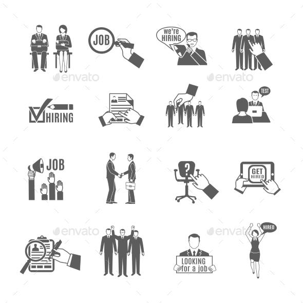 Hire Black Icons Set - Business Conceptual