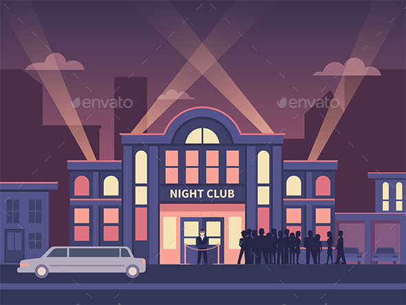 Building Night Club with Queue at the Entrance - Buildings Objects