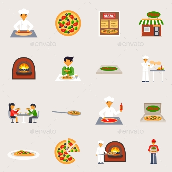 Pizzeria Icons Set - Food Objects