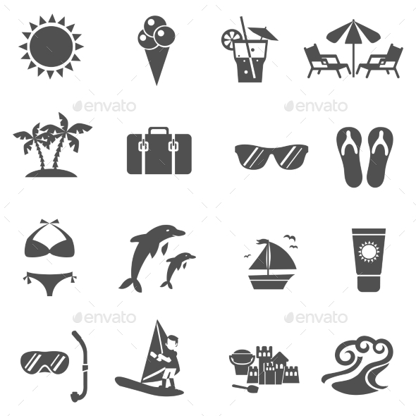 Summer And Travel Icons Set - Seasonal Icons