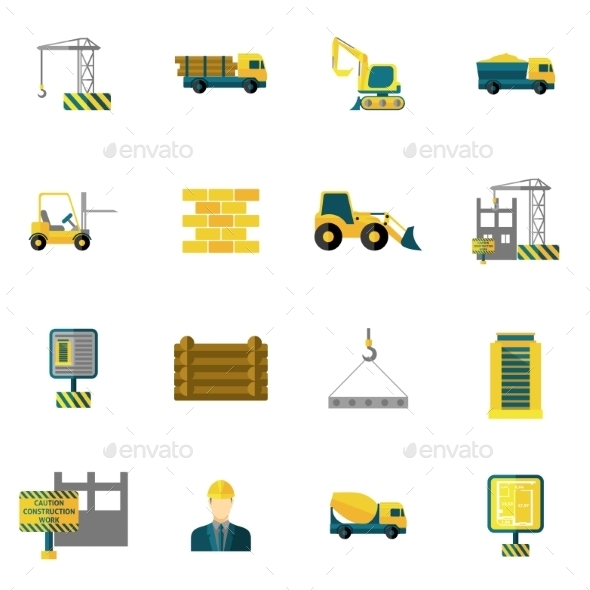 Construction Icons Flat - Industries Business