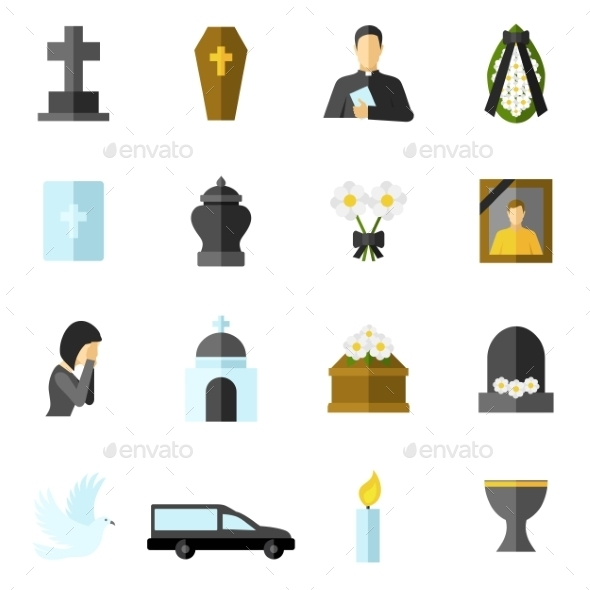 Funeral Flat Icons Set - Miscellaneous Icons