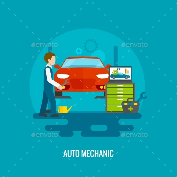 Auto Mechanic Flat - Miscellaneous Vectors