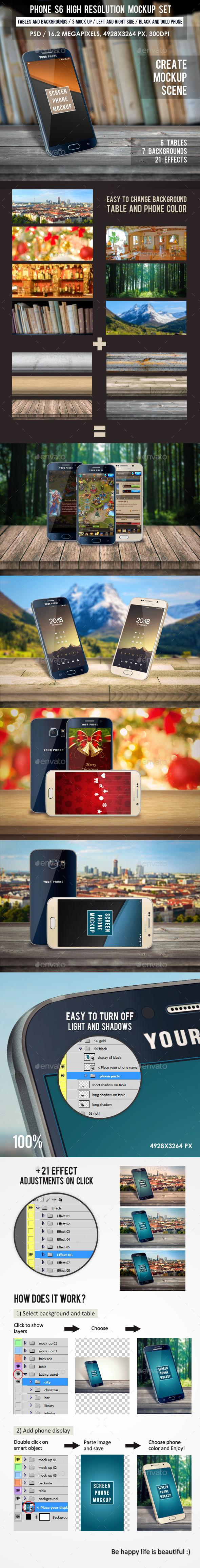 Phone S6 High Resolution Mockup Set  - Mobile Displays