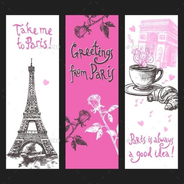 Paris Vertical Banner Set - Travel Conceptual