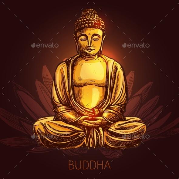 Buddha on Lotus Flower Illustration - Religion Conceptual