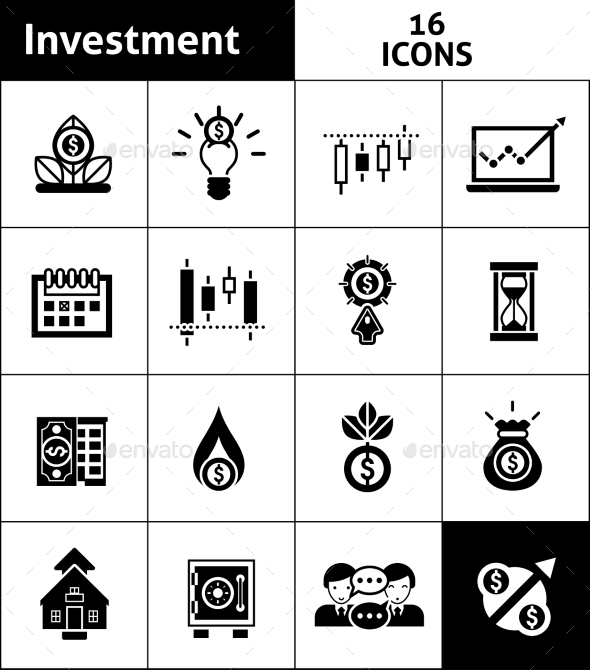 Investment Icons Black - Business Icons