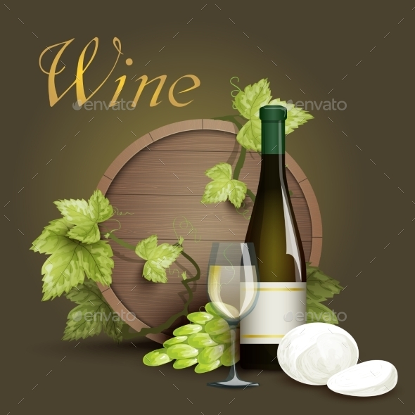Wine Bottle and Oak Barrel Background - Food Objects