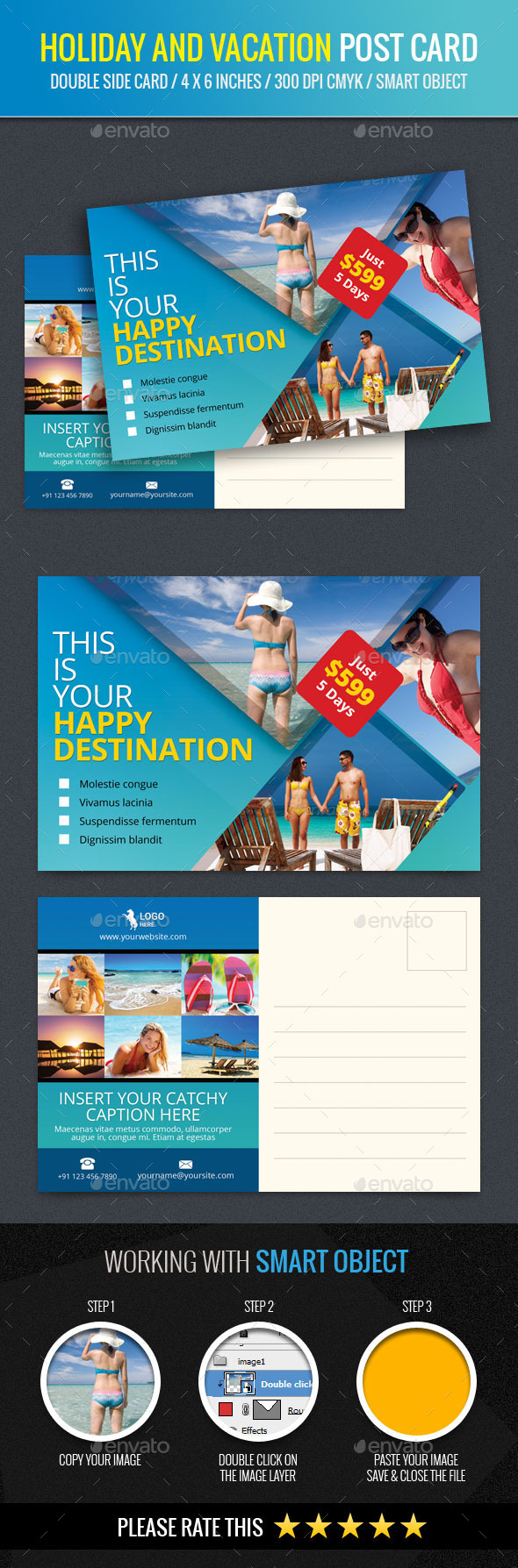 Holiday and Vacation Post Card Template - Cards & Invites Print Templates