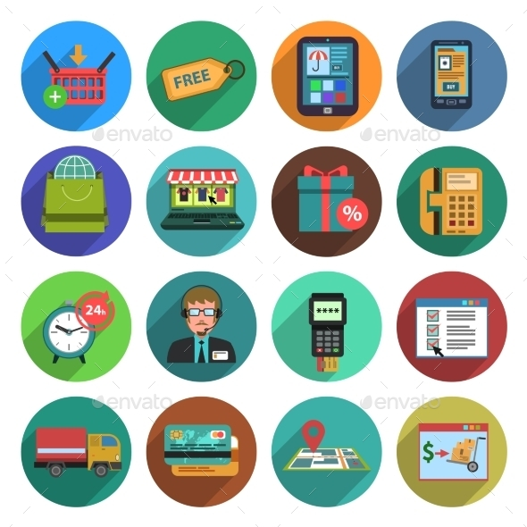 Online Shopping Flat Icon Set - Retail Commercial / Shopping