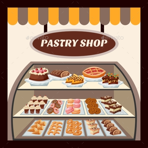Pastry Shop Background  - Food Objects