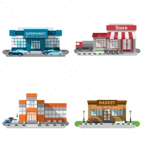Shop Buildings Icons Set - Buildings Objects