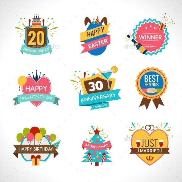 Celebration Emblems Set - Miscellaneous Vectors