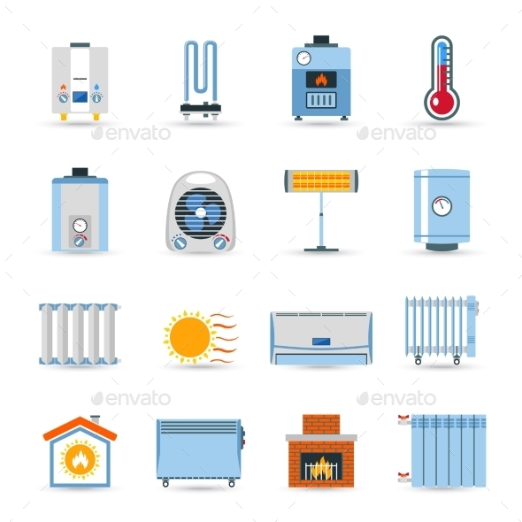 Heating Flat Color Icon Set - Man-made Objects Objects