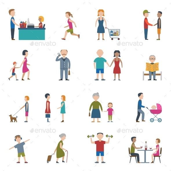 People Lifestyle Icon Set - People Characters