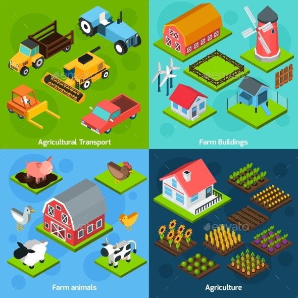 4 Farm Isometric Square Icons Copositions - Miscellaneous Conceptual