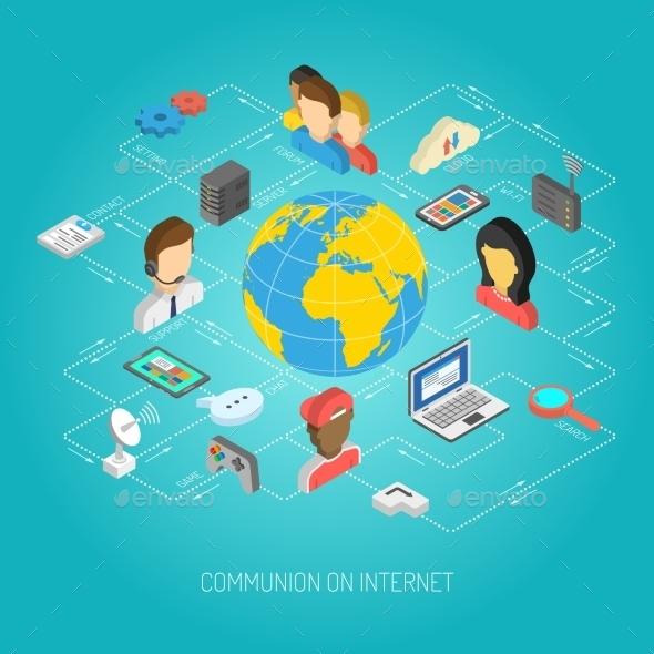 Internet Concept Isometric - Communications Technology