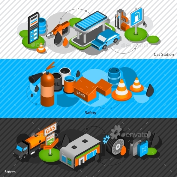 Gas Station Isometric Banners Set - Man-made Objects Objects