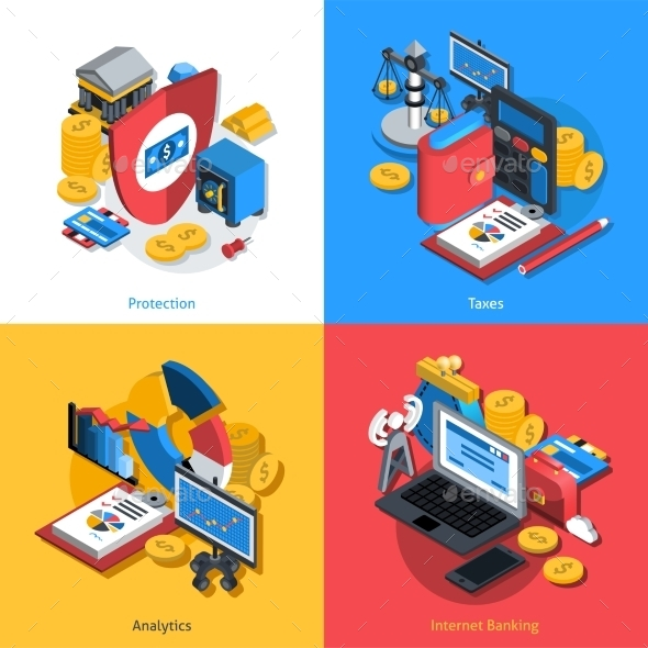 Financial Isometric Set - Industries Business