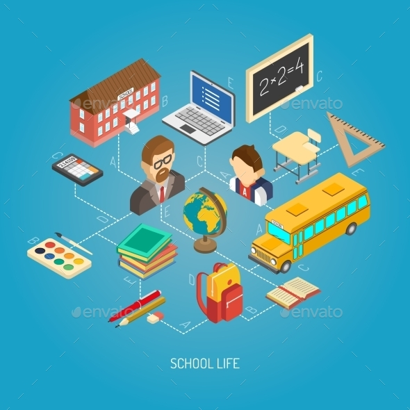 Secondary School Isometric Concept Poster - Miscellaneous Conceptual