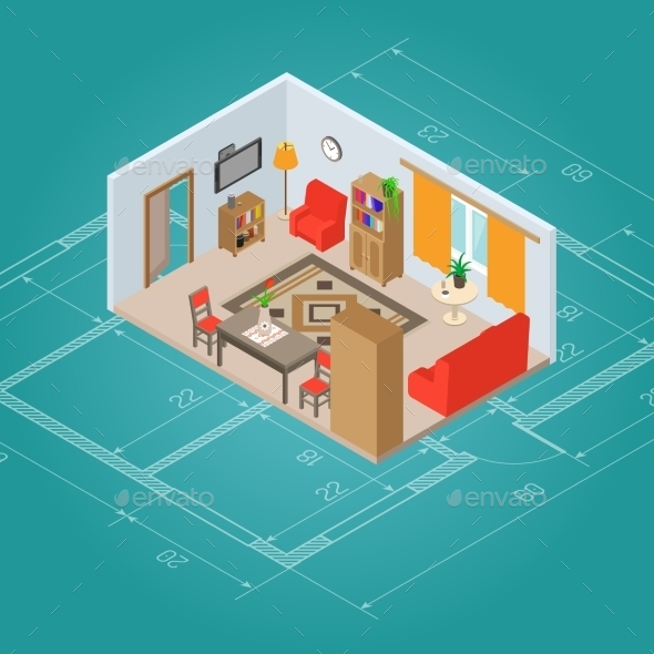 Isometric Living Room Interior - Miscellaneous Vectors