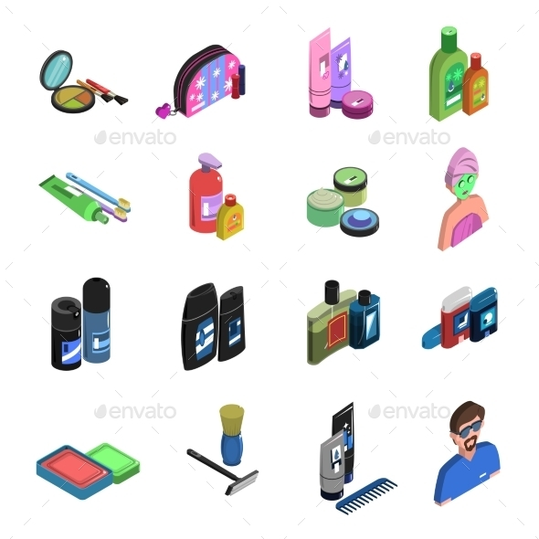 Bodycare Isometric Icon Set  - Man-made objects Objects
