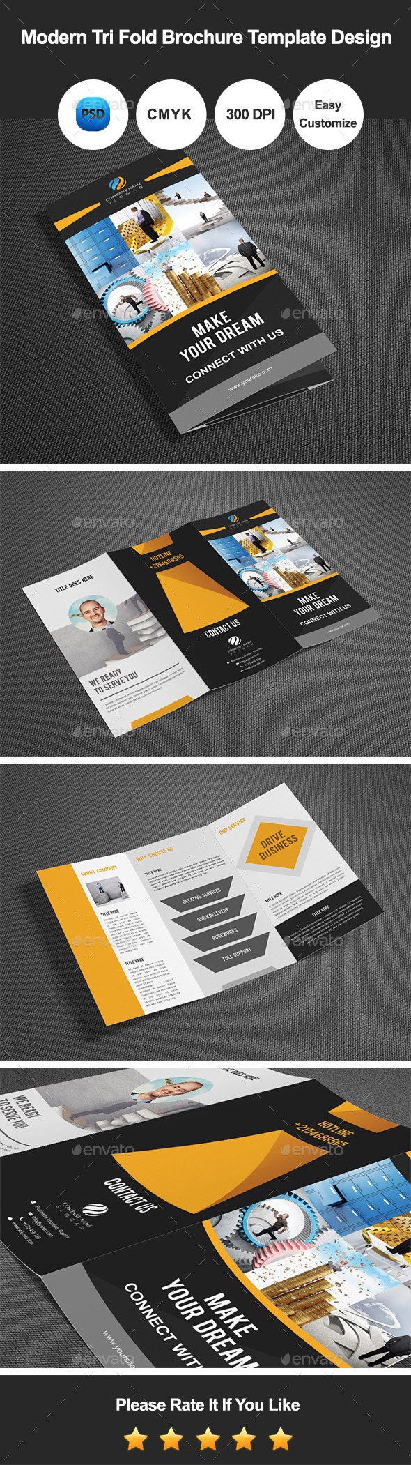 Modern Tri Fold Brochure Template Design - Corporate Brochures